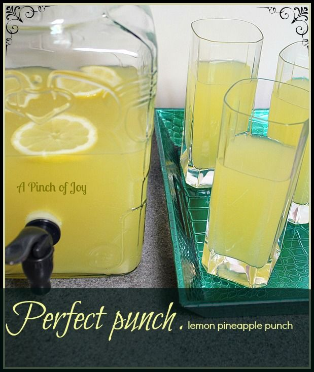 """Perfect Punch . . . lemon pineapple punch Recipe ~ It's the perfect punch for any event. The flavors blend beautifully. You can't taste the lemon or the pineapple because they make their own subtle flavor """"snapped"""" up with the lemon lime soda."""