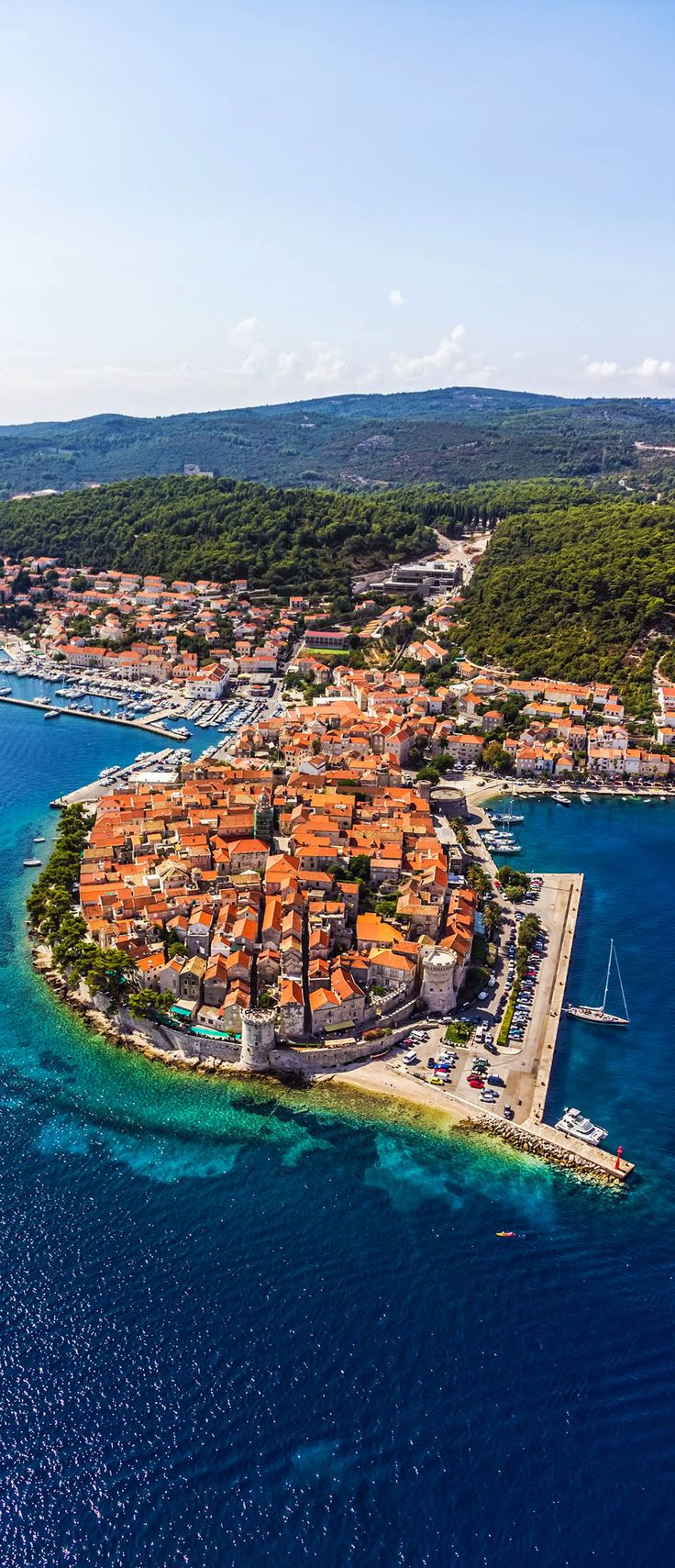 Amazing View of Korcula old town. Dubrovnik archipelago - Elaphites Islands. Dubrovnik is a Croatian city on the Adriatic Sea, in the region of Dalmatia. It is one of the most prominent tourist destinations in the Mediterranean Sea, a seaport and the center of Dubrovnik-Neretva County.