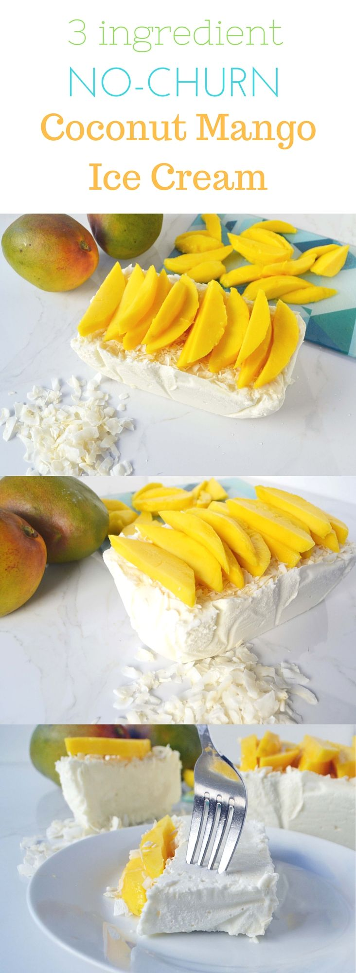 3 Ingredient No-Churn Mango Semifreddo Ice Cream. No ice cream maker required. Super simple, easy, impressive dessert.