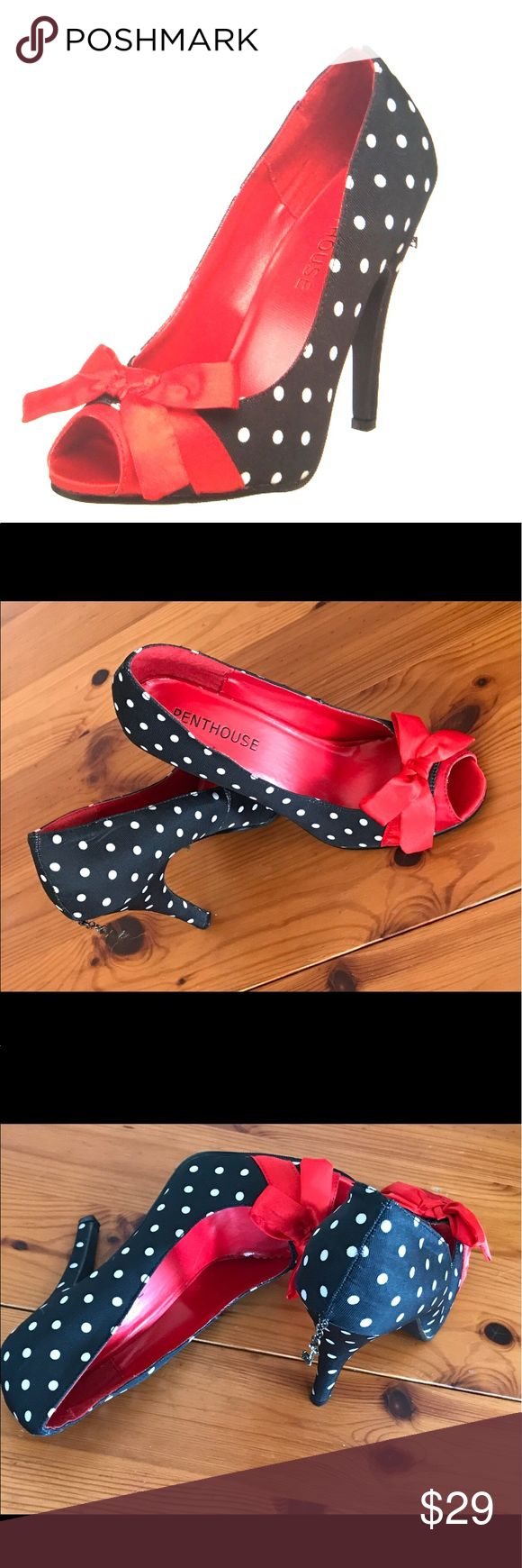 "PENTHOUSE PAIGE SATIN POLKA DOT PUMP ADD A TOUCH OF FEMININITY TO COMPLETE YOUR VALENTINE WARDROBE!  PLATFORM 4.5"" heel peep toe stiletto dress pump with polkadot accent and a satin bow at the top. Lightly padded foot bed scooped vamp.  Only worn once inside. Love this sexy peep toe pump but bought without trying on in store and a bit snug for me. PENTHOUSE Shoes Heels"