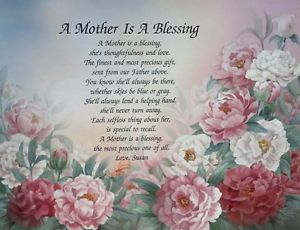 "Christmas Poems for Moms | Poem for Mom ""A Mother Is A Blessing"" Personalized Gift for Christmas ..."