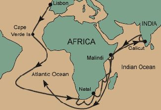 Map showing Vasco da Gama's route to India