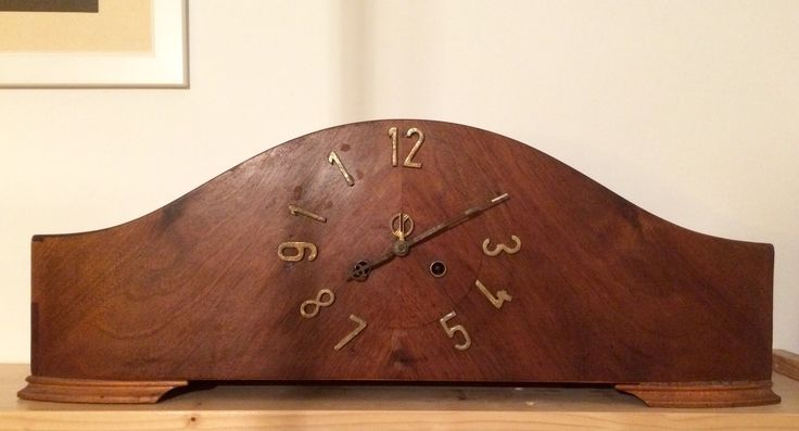 Art Deco wooden mantle clock before renovation