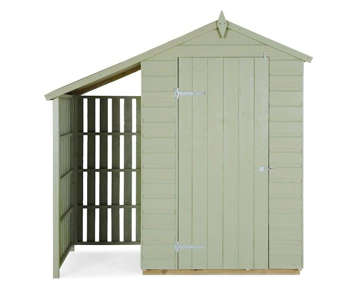 inspiration: Beautifully designed and painted 'Oxford Lean To Shed' sold by English company Next. Shed with lean to extension for log storage shown painted in Heritage green garden paint. via gardenista