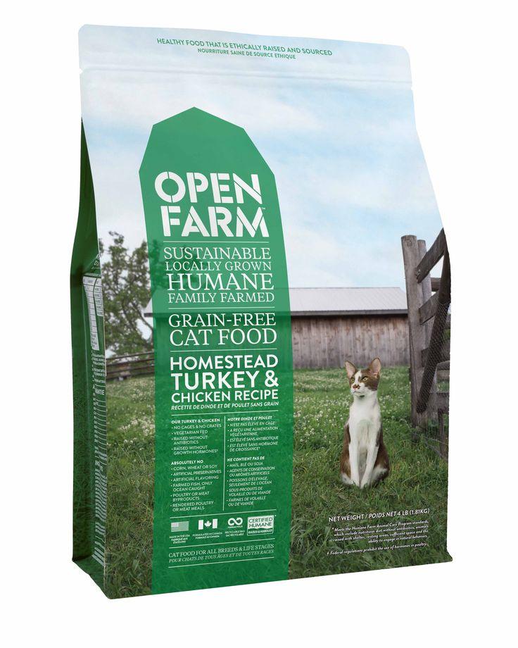 Open Farm Moulée pour chat sans grains - Recette de dinde et de poulet. Une nourriture saine et de source éthique. Cultivée localement, de façon durable, sans cruauté et sur des fermes familiales. Notre dinde et notre poulet sont élevés sans cages,ont reçu une alimentation végétarienne, sont élevés sans antibiotiques ni hormones de croissance.