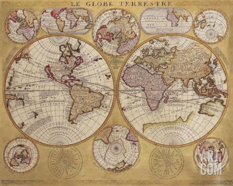 Art.fr - Reproduction d'art 'Antique Map, Globe Terrestre, 1690' par Vincenzo Coronelli