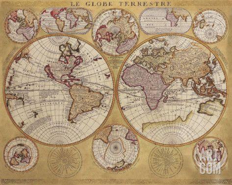 Art.fr - Reproduction d'art 'Antique Map, Globe Terrestre, 1690' par Vincenzo Coronelli