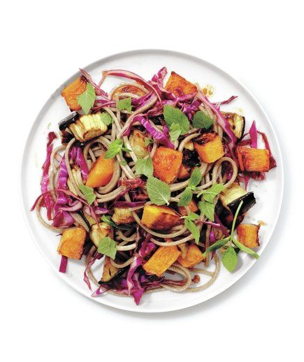 Roasted Squash and Eggplant With Crispy Cabbage and Soba Noodles | Think butternut squash's only good for soup (or Thanksgiving)? Squash any preconceived notions and see how versatile butternut can be.
