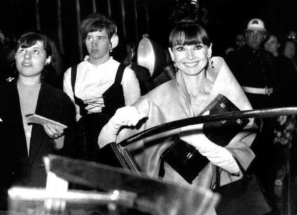 The actress Audrey Hepburn photographed leaving the Teatro Victoria Eugenia, located on Avenida República Argentina, in San Sebastián (Spain), after the award ceremony of the XII San Sebastián International Film Festival (in Spanish: Festival de San...
