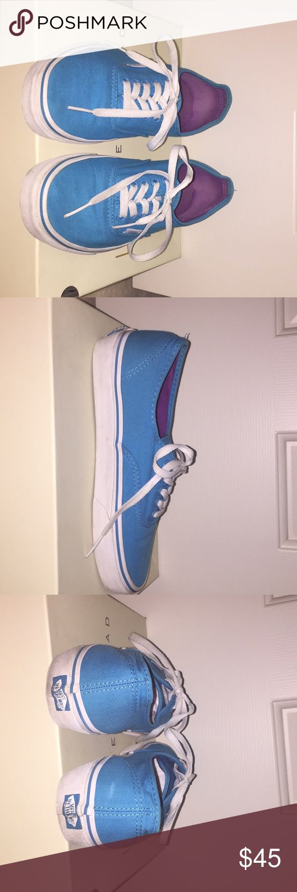 Vans Off the Wall teal blue and purple sneakers Limited edition Off the Wall teal vans with a purple interior. These sneakers are lightly worn with little scuffs. Gender neutral so available for boys as a size 7 or women's as a size 8.5. Vans Shoes Sneakers