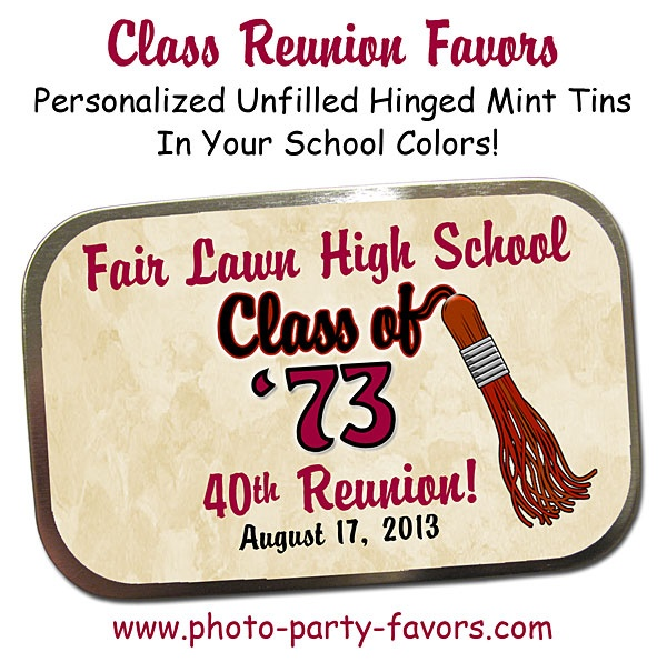 Sweet idea for Class Reunion Favors - Large, personalized hinged mint tins in tassel design are ready to fill with your favorite candy. More class reunion favors at http://www.photo-party-favors.com/class-reunion-favors.html