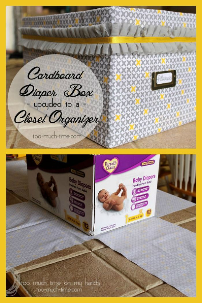 Upcycle old diaper boxes into beautiful closet storage