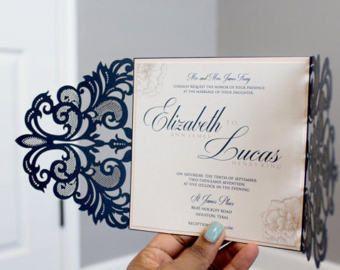 Navy and BlushWedding Invitations, Laser cut wedding invitation, Navy, Blush, Elegant, SAMPLE