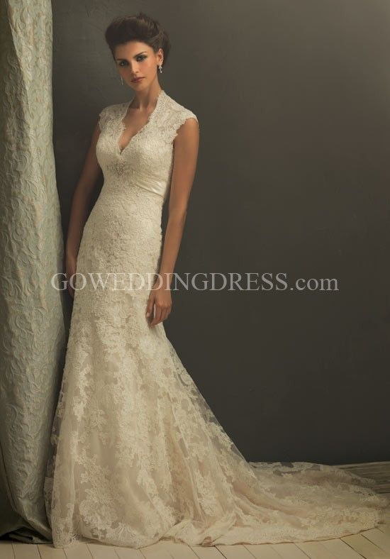 I love this! Lace, V-neck, empire waist, & A-line silhouette. Not fond of the back, though.  Allure Bridal.