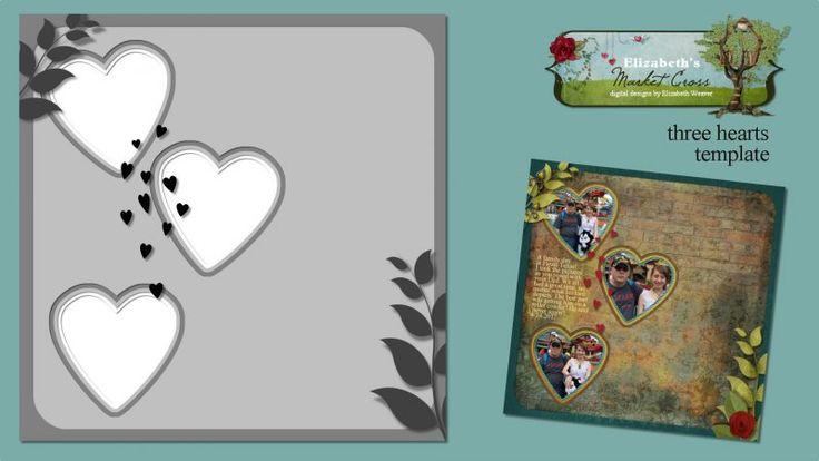 Three Hearts Template by Elizabeth's Market Cross.