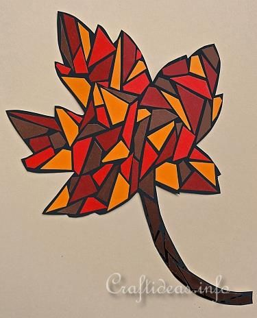 Autumn Crafts for Kids - Paper Mosaic Maple Leaf and Paper Mosaic Oak Leaf