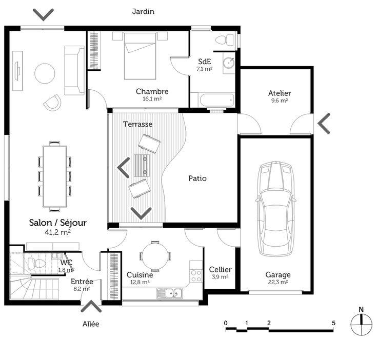 1015 best architecture personne âgée images on Pinterest - plan maison en u ouvert