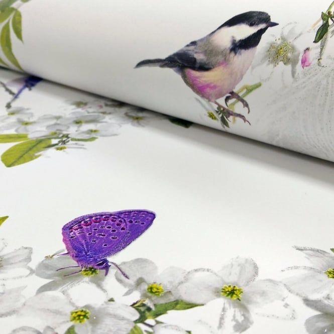 Arthouse Mitzu Floral Pattern Bird Butterfly Glitter Wallpaper 670401