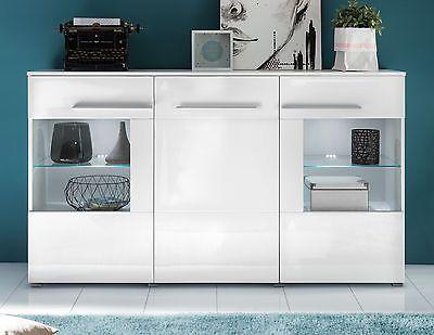 Kommode Sideboard Weiss Hochglanz Wohnzimmer Schrank Esszimmer Anrichte Vision LiveDeko