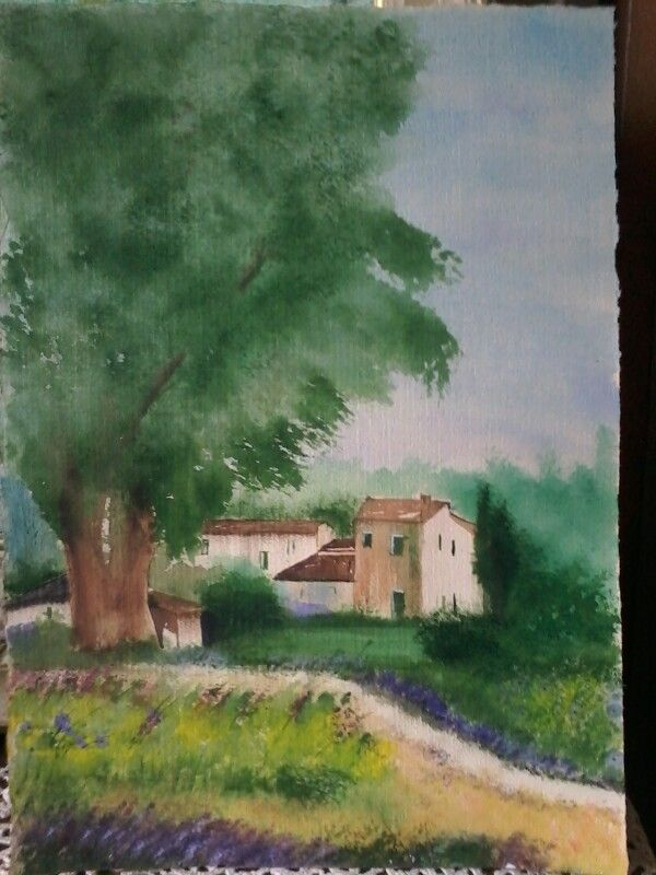 All ombra della grande quercia.acq.su carta velure.