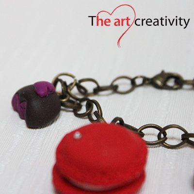 Maccaron e dolcetto il fimo. #cioccolato #rosso #bianco #maccaron #bracciale #fimo #pastapolimerica #heart #cuore #rosa