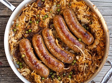 Beer Braised Bratwurst and Caramelized Sauerkraut