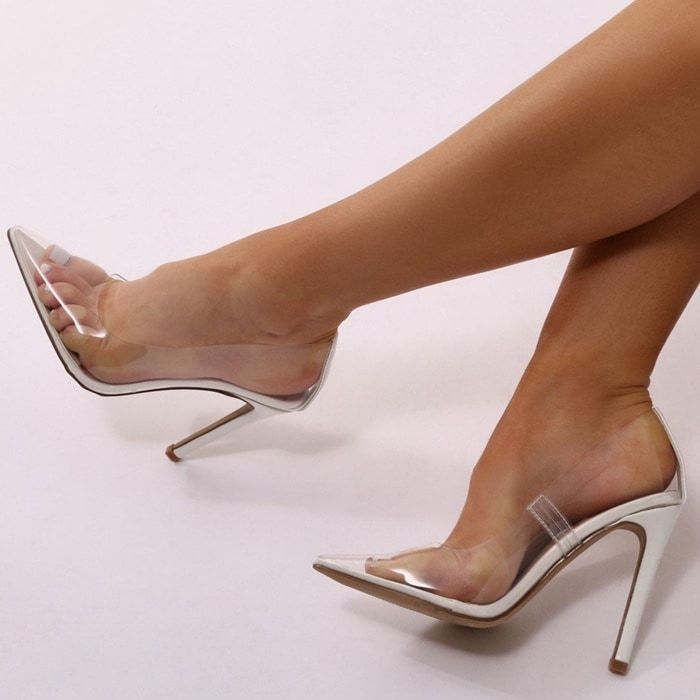 Extra Perspex Pointy-Toe Clear Pumps