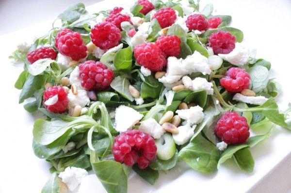 Summer salad met Frambozen en geitenkaas