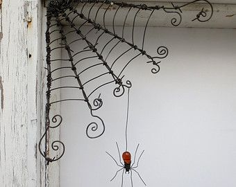 18 Odd Twisted Barbed Wire Corner Spider Web by thedustyraven