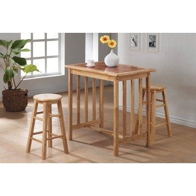 3 Piece Counter Height Bar Table Set With Terracotta Tile Top In Natural By World Imports