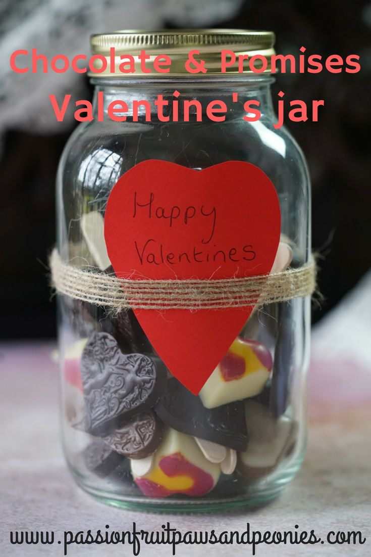 It's nearly Valentine's Day, so we are under pressure to come up with a new and loving gifts. I wanted to give my hubby a quality Valentine's jar this year, but it has to be full of little things he'll really love. The idea of cute Valentine's jars has been around for sometime but I wanted this one to be a simply indulgent Valentine's jar filled with promises, messages of love and quality Valentine's chocolate. For more head to passion fruit, paws and peonies
