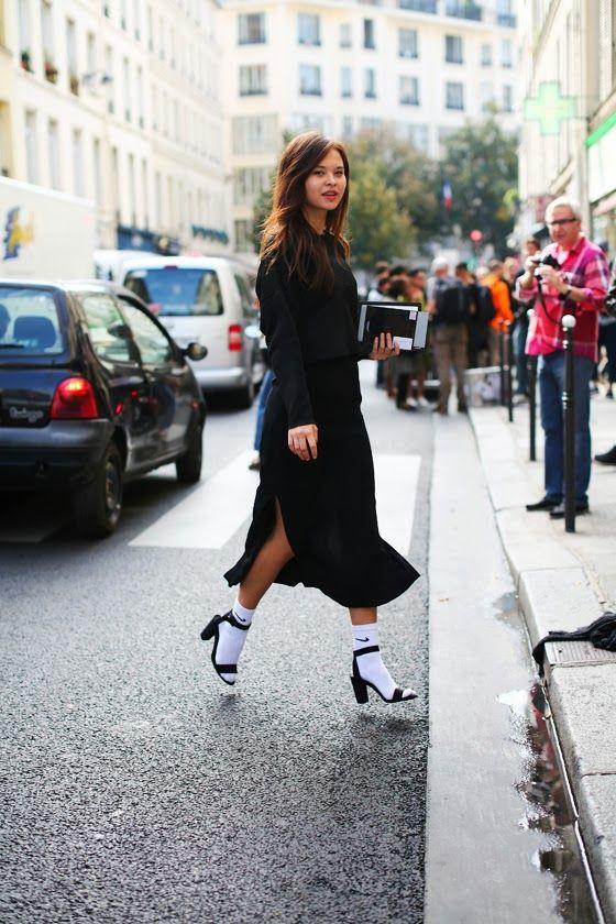 That cool blackout with the Nike socks u0026 heels. #MargaritaZubatov in Paris. #TamuMcPherson ...