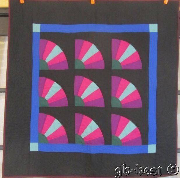 PA Amish JEWEL TONES Fans Quilt Crib Wall Lancaster County Feathers