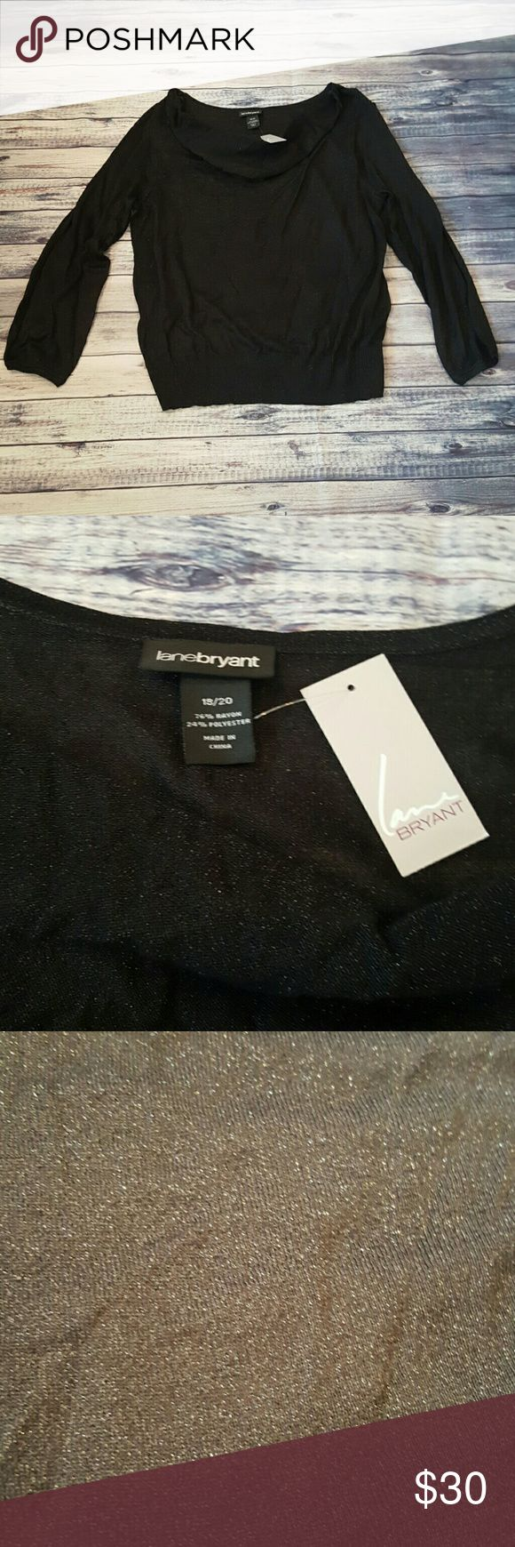 Lane Bryant black  shirt, size 18/20 NWT Lane Bryant black sparkle long sleeve blouse size 18/20 NWT.  The shirt is 76% rayon and 24% polyester.   All my stuff comes from a smoke free and pet free home.  I encourage you to bundle to save on shipping, so check out my closet for other deals! 312 Lane Bryant Tops Blouses