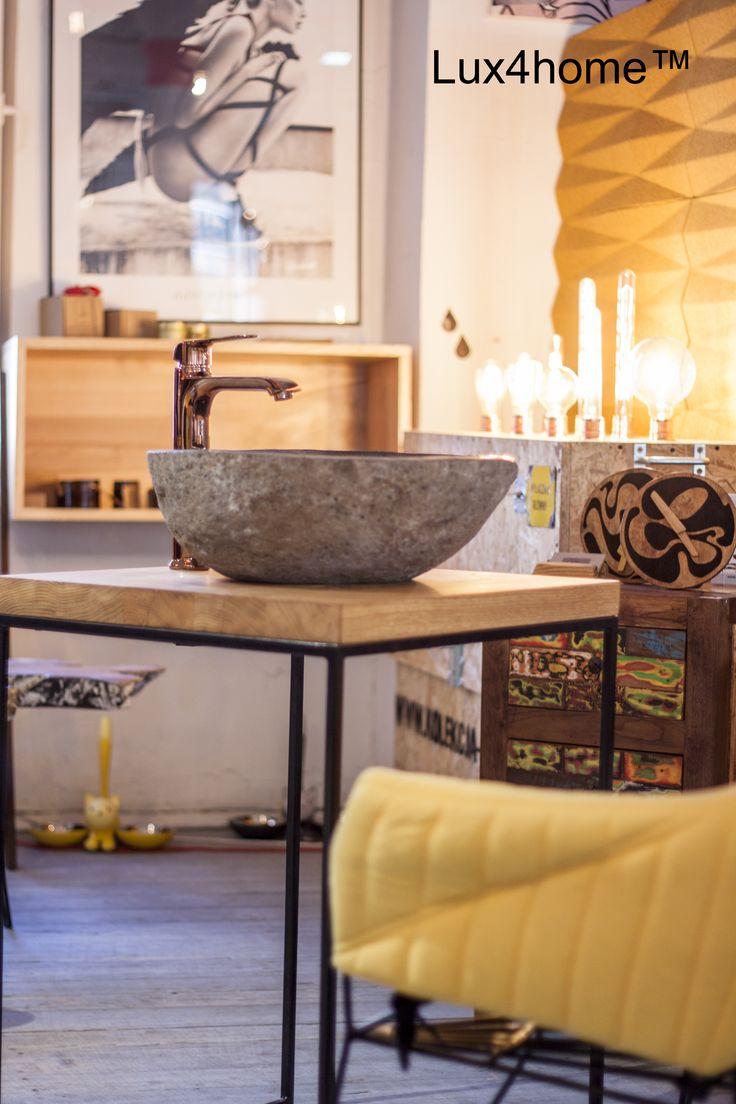 Umywalka z kamienia polnego + drewniany blat łazienkowy + wyjątkowa bateria...  Lux4home™ - produkujemy i importujemy dobrej jakości umywalki z kamienia naturalnego - umywalki z kamienia polnego.  #umywalki #umywalkikamienne #umywalkizkamienia #kamien #drewno #lazienka #projektywnetrz #blaty  Mimo możliwości spotkania podobnych umywalek na rynku to tylko umywalki Lux4home™ posiadają taką jakość wykonania bez obić, bez szpachlowania ubić, bez woskowania czy lakierowania powierzchni i bez…