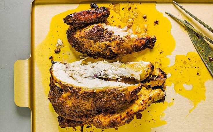 An easy overnight marinade and home-made garam-masala butter transforms roast   chicken