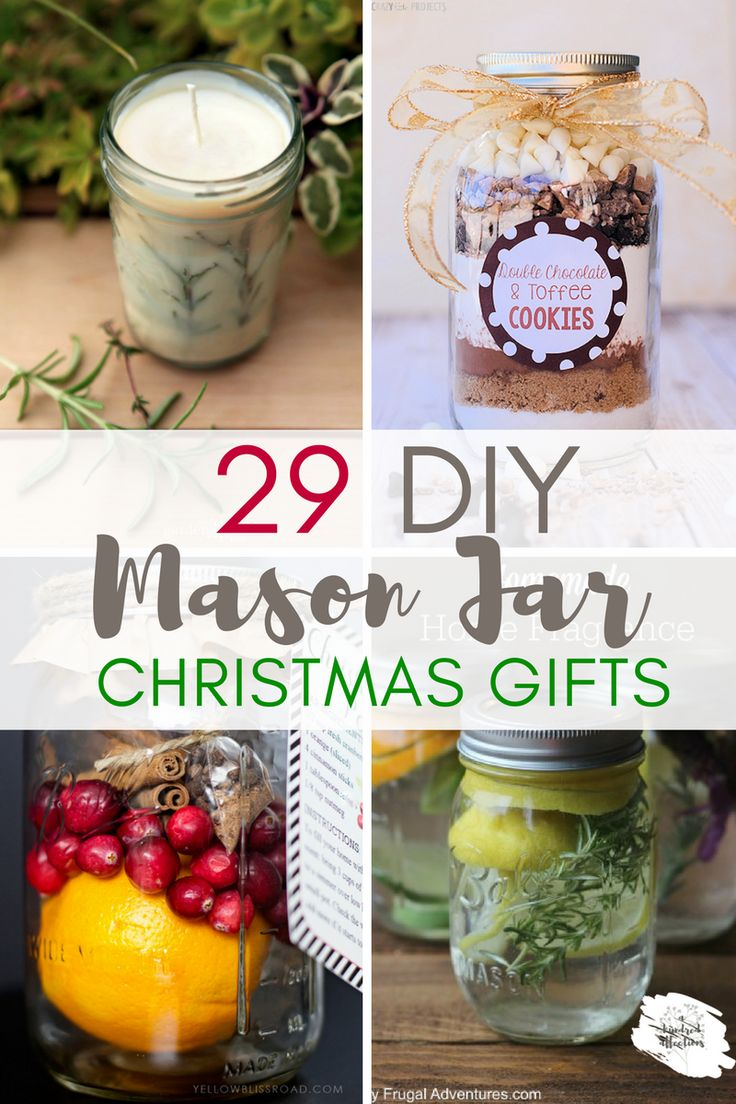 Need quick, easy, inexpensive, trendy & cute Christmas gifts? DIY Mason Jar Gifts - lots of creative choices- both food and non-food jars! Can't go wrong!