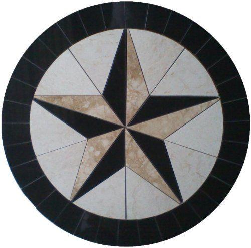 Tile Floor Medallion Marble Mosaic Texas Star Cowboys