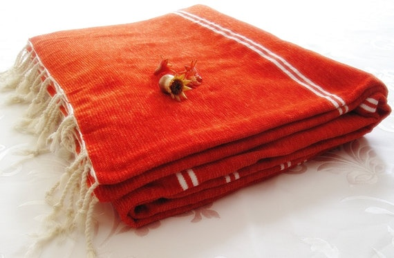 Cotton & Velvet Handwoven Orange Blanket Seat Cover by loovee, $48.00