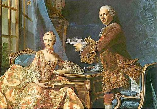 """1754 """"Madame de Pompadour & Marquis de Marigny"""" by Alexander Roslin.  Madame de Pompadour and her brother, the Marquis de Marigny, who served as the director general of the King's Buildings."""