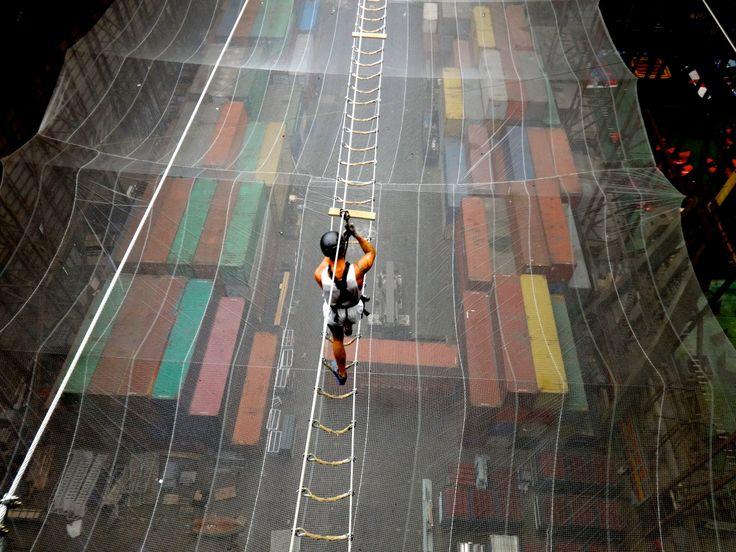 #Urbanhighroping #URC #Worldshighest #Extreme #Adrenaline #Copenhagen #Refshaleoen #highropes