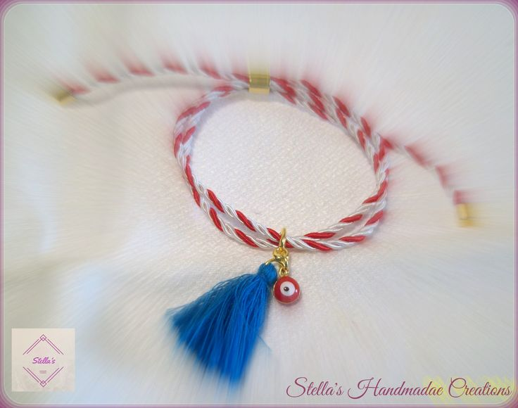 March bracelet with blue tassel and red evil eye Βραχιόλι μάρτης με μπλε φούντα και κόκκινο ματάκι