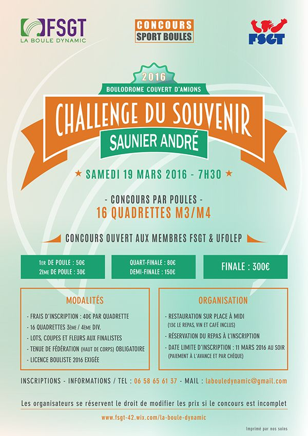 Official advertising of Challenge Saunier André, regional challenge of Sport-Boules. FSGT La Boule Dynamic