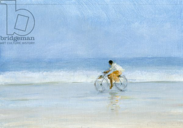 Boy on Bicycle (acrylic on paper), Seligman, Lincoln / Private Collection / Bridgeman Images