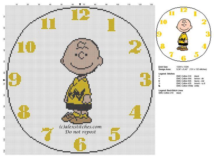 Cross stitch pattern children clock with Charlie Brown