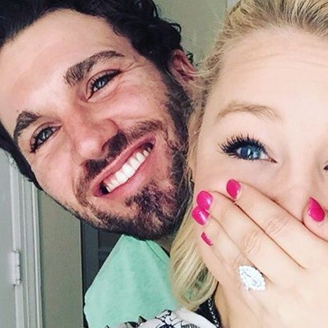 Raelynn engagement ring Joshua Davis Instagram announcement unique ring marquise halo cute big