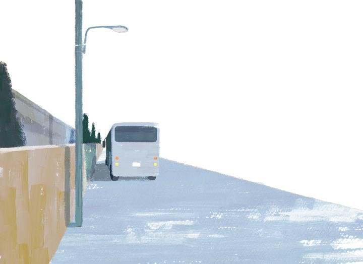 "バス ""Bus"" #illustration #landscape"
