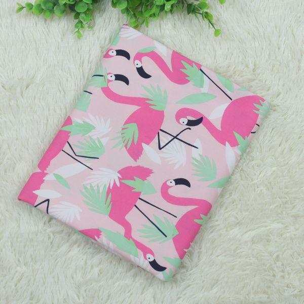 Иностранные Пастырское мультфильм фламинго набивные ткани из поплина хлопка высокой плотности материала ручной работы DIY ткани одежды