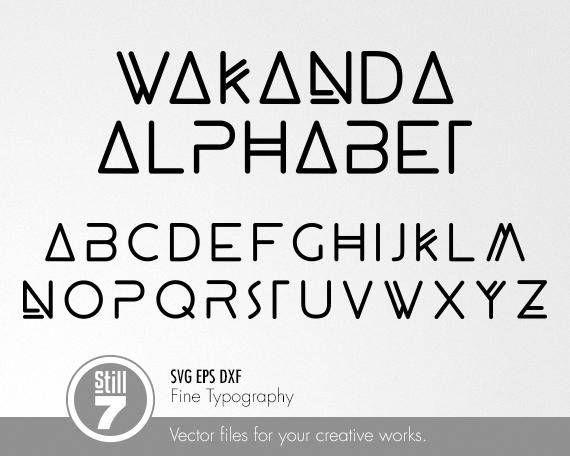 Wakanda Alphabet  Black Panther movie  svg eps dxf