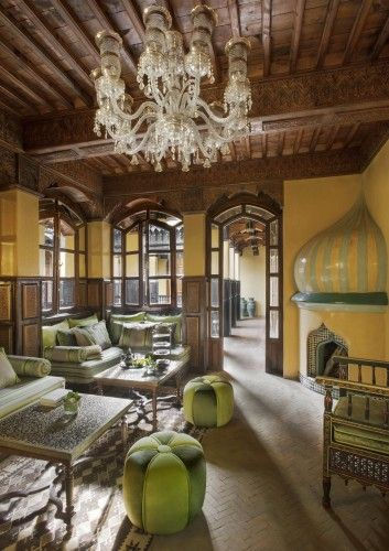 """We love the idea of riads being inward focused, creating private surrounds (once for families and now for you) to relax in.  The windows of the rooms look in to the courtyard rather than to the outside of the property, so you'll truly be ensconced in your own little sanctuary.""  -Discover more with our feature at http://www.thechictravelclub.com/traditional-moroccan-riad/  xo The Chic Travel Club (Photo courtesy of La Sultana Hotels)"